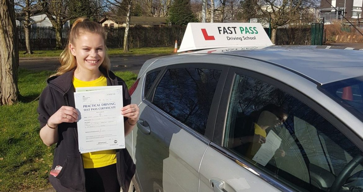 Congratulations to Erica who passed her driving test with Fast Pass Driving School Derby!