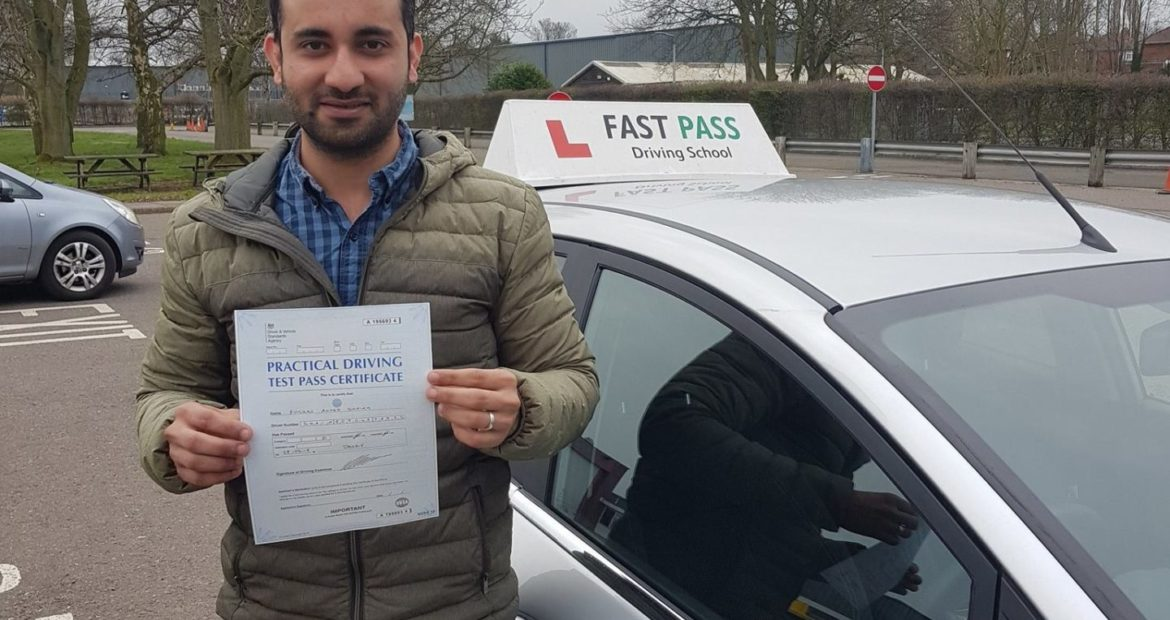 Congratulations to Furqan who passed his driving test FIRST time with Fast Pass Driving School.